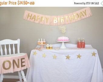 ON SALE Gold and Pink Happy Birthday Banner, GOLD And Pink  themed Birthday Wedding Baby shower