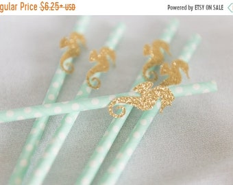 ON SALE Under the sea birthday straws, little Mermaid birthday, sea green straws, seahorse