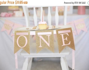 ON SALE ONE highchair banner, Pink and gold banner, Princess First Birthday