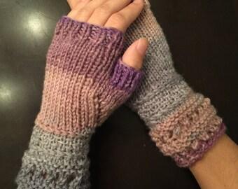 Light Lavender Hand Knitted Fingerless Gloves, christmas gifts for her