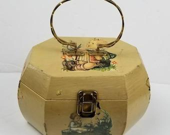 Vintage Hummel Decoupage Vanity Case! Beautiful one if a kind piece!