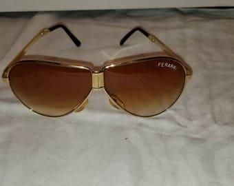 Vintage 80s folding Ferrari Aviator sunglasses. Mint Condition.
