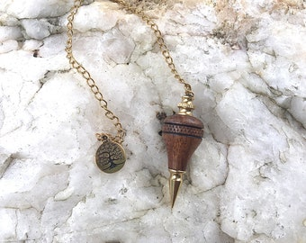 Dowsing Pendulum, Hawaiian Koa Wood with Tree Of Life Charm