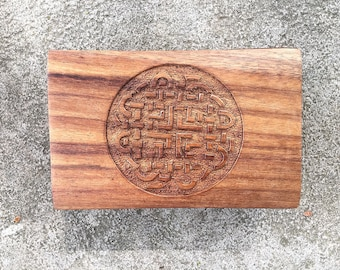 Carved Wooden Trinket Box Celtic Knotwork