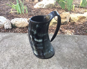 Viking Tankard Mug, Natural Buffalo Horn