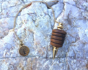 Dowsing Pendulum, Oak Burl Wood with Tree Of Life Charm