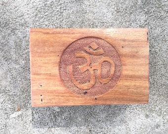 Carved Wooden Trinket Box Om Symbol