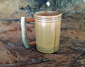 Wooden Tankard Mug, Ash Wood, Deer Antler Handle