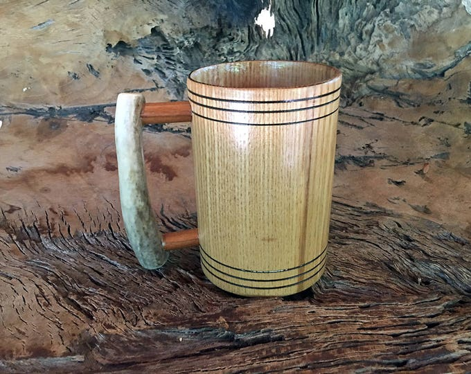 Featured listing image: Wooden Tankard Mug, Ash Wood, Deer Antler Handle