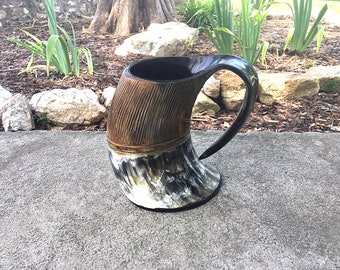 Viking Carved Tankard Mug, Carved Buffalo Horn