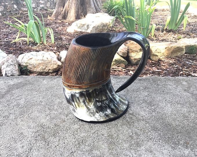 Featured listing image: Viking Carved Tankard Mug, Carved Buffalo Horn