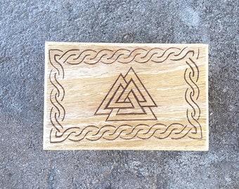 Carved Wooden Trinket Box Valknut Symbol