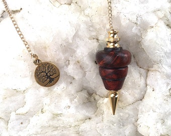Dowsing Pendulum, Cocobolo Wood with Tree Of Life Charm