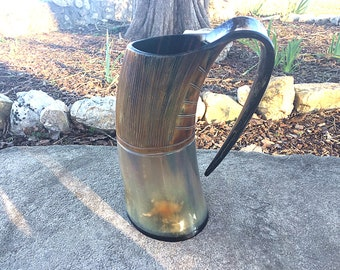 Viking Carved Tankard Mug, Buffalo Horn XXL
