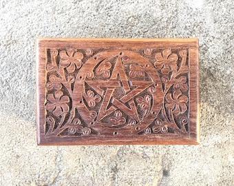 Carved Wooden Trinket Box Pentacle Symbol