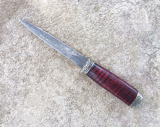 Featured listing image: Damascus Steel Athame, Dagger Knife with Curly Ash Handle, Norse Knotwork
