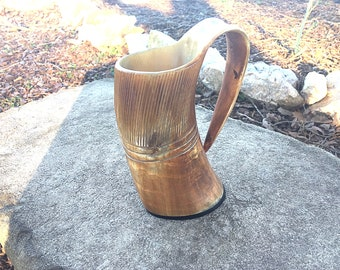 Viking Carved Tankard Mug, Buffalo Horn