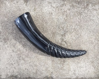 Viking Drinking Horn, Spiral Carved Buffalo Horn