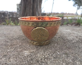 """Copper Altar Offering Bowl 3"""" Tree Of Life"""