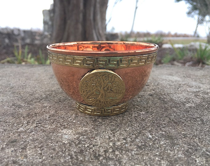 """Featured listing image: Copper Altar Offering Bowl 3"""" Tree Of Life"""