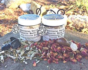 Soothing Salts Energetic Blends with Crystal, Ritual Bath Soaks 4 oz.