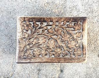 Floral Carved Wooden Trinket Box