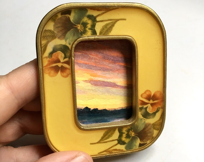 Light's Path / original tiny landscape painting framed / sunset art / tiny gold + floral metal frame