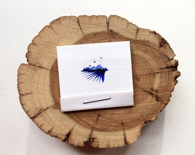 tiny sketchbook / Made To Order / handmade tiny matchbook style sketchbook or watercolor book / tiny original watercolor + ink cover art