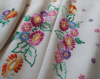 Vintage Square Tablecloth. Large Cream Tablecloth, Hand Embroidered Daisies In Bright And Beautiful Colours. Perfect For A Vintage Tea Party