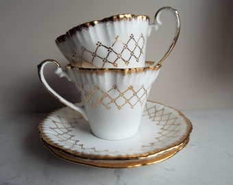 Vintage Gold And White Teacup and Saucer. 1950s English China Tea Cup Duo. Gold And White Tea Set, For A Very Pretty Afternoon Tea Party