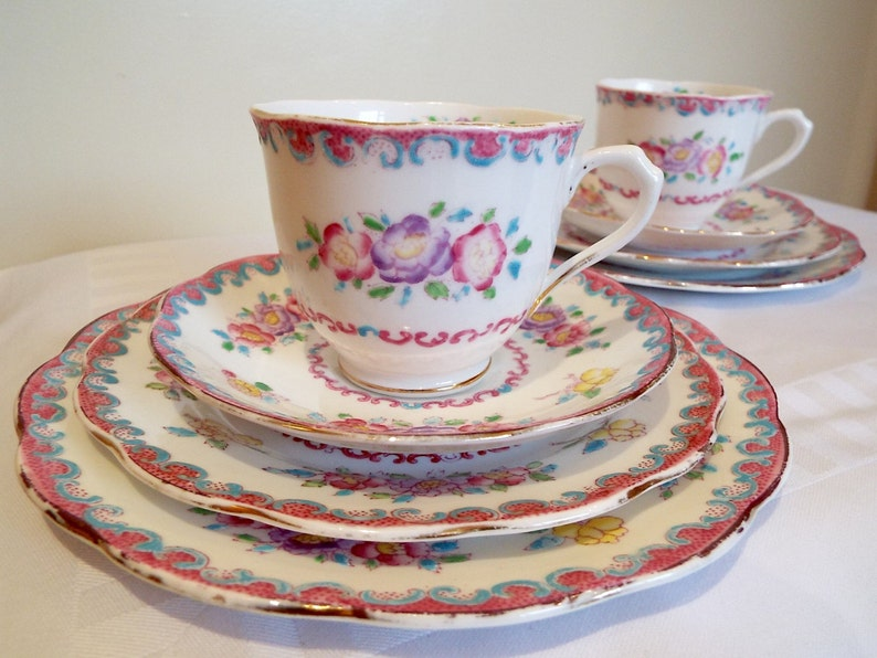 Vintage Royal Albert Crown China Rose Marie Teacup Trio and image 0