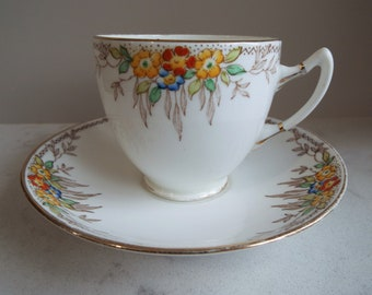 Vintage Teacup and Saucer With Hand Painted Flowers, By Standard China. English China Tea Cup Duo. Vintage Teacup And Saucer For A Tea Party