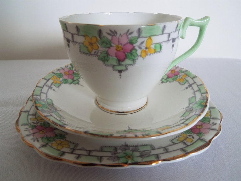 Vintage Teacup and Saucer With Pink And Yellow Flowers. image 0