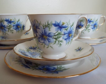 Vintage Tea Cup and Saucer, Blue and White with Nigella Flowers. Queen Anne Tea Cup and Cake Plate Trio, Perfect For An Afternoon Tea Party