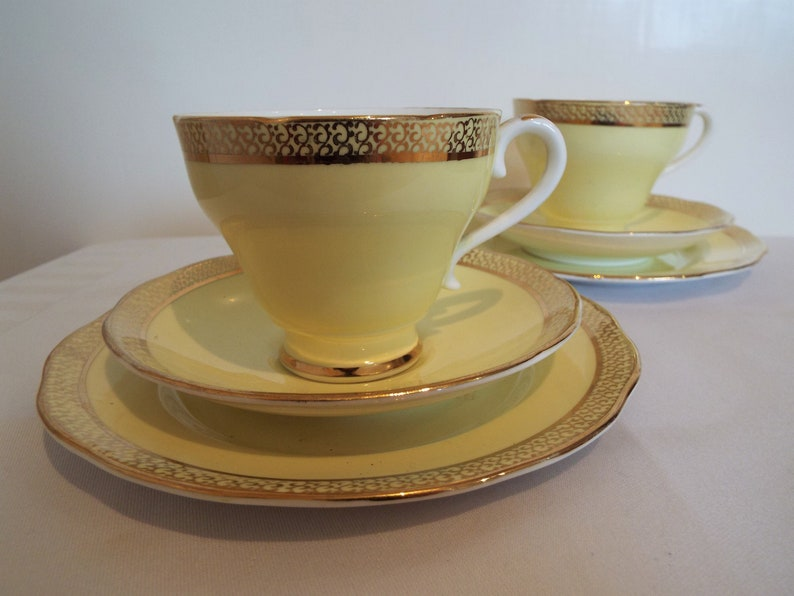 Vintage Yellow Teacup And Saucer and Cake Plate. 1950s Yellow image 0
