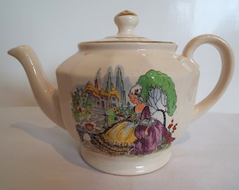 Vintage Large Teapot With Crinoline Lady, By Price Bros. 1950s Retro Tea Pot, Holds 5 Cups. Pours Brilliantly, Ideal For Afternoon Tea Party