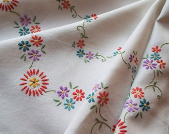 Vintage Square Tablecloth. Hand Embroidered White Linen Large Tablecloth With Brightly Coloured Daisies. Perfect For An Afternoon Tea Party!