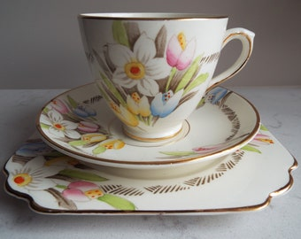 Vintage Teacup and Saucer With Hand Painted Tulips, Daffodils And Spring Flowers. 1940s Tea Cup and Cake Plate Trio, For A Vintage Tea Party