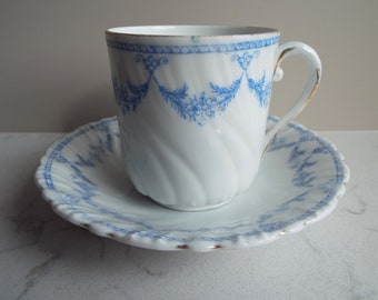 Edwardian Teacup and Saucer With Blue And White Flowers. English Antique China Tea Cup. Great For An Afternoon Tea Party Or Christmas Gift