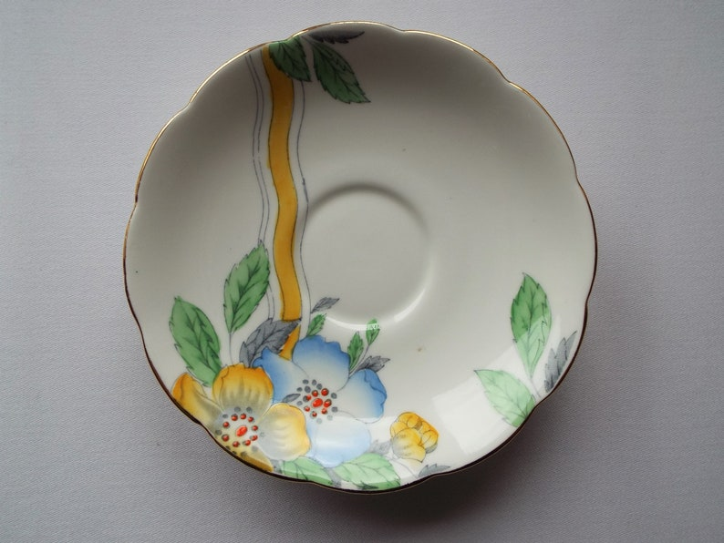 Vintage China Saucer by Bell China. 1930s Saucer With Yellow image 0