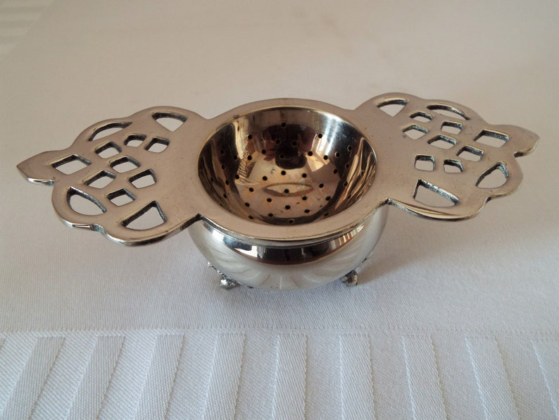 Vintage Tea Strainer and Drip Bowl 1950s. English Silver image 0