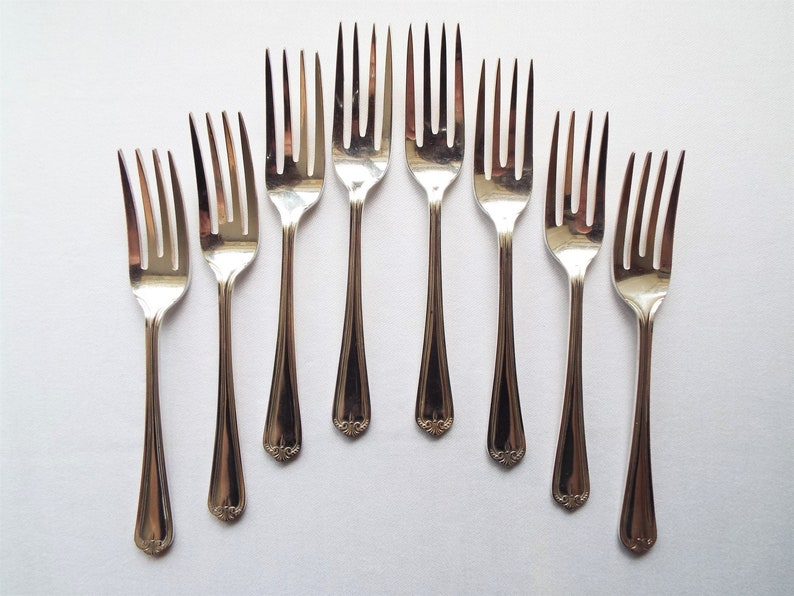 Vintage Cake Forks. Complete Set of Eight 1930s English image 0