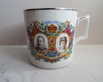 Antique Coffee Can. British Royal Family Memorabilia. Royal Commemorative White Coffee Mug, 1935 King George V And Queen Mary Silver Jubilee