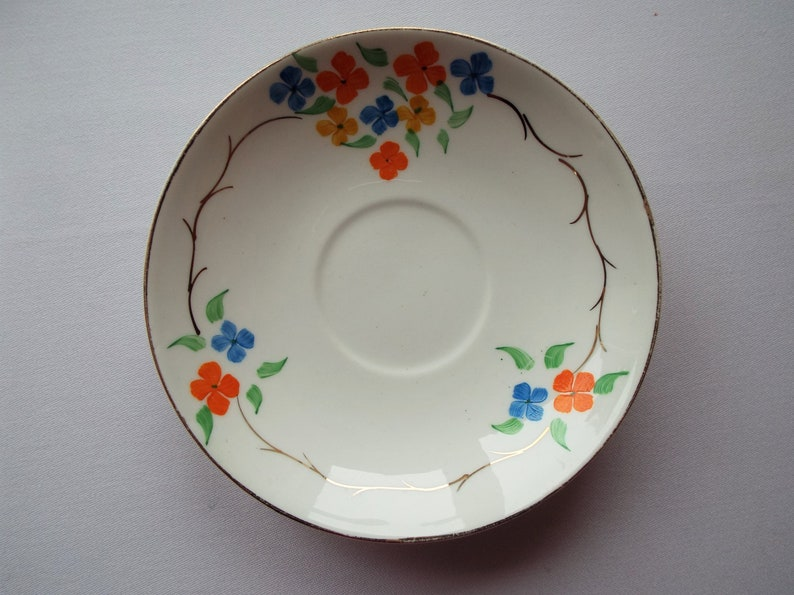 Vintage China Saucer With Hand Painted Flowers. 1930s Vintage image 0
