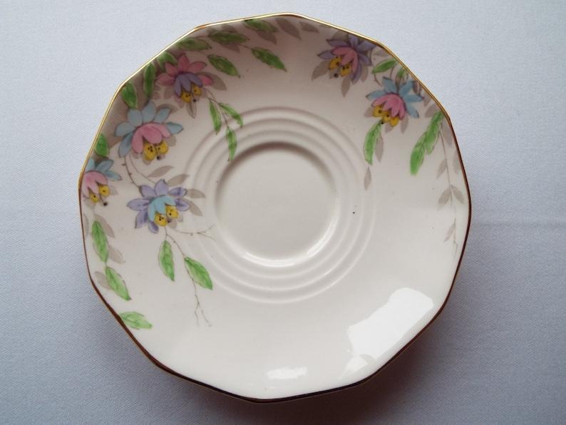 Vintage China Saucer 1930s Plant Tuscan Plate. Pink Saucer or image 0