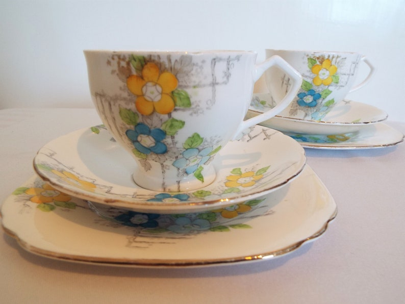 Vintage Teacup and Saucer With Blue And Yellow Flowers. Hand image 0