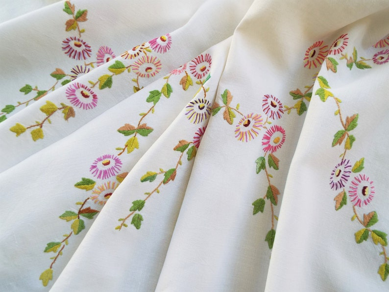 Vintage Square Tablecloth With Bright Flowers And Leaves. Hand image 0