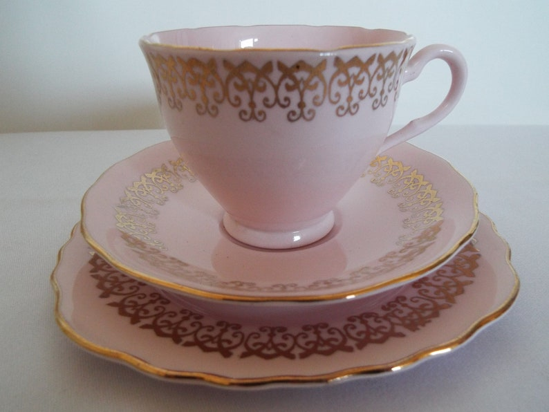 Vintage Baby Pink Teacup and Cake Plate. 1950s Retro Pink And image 0