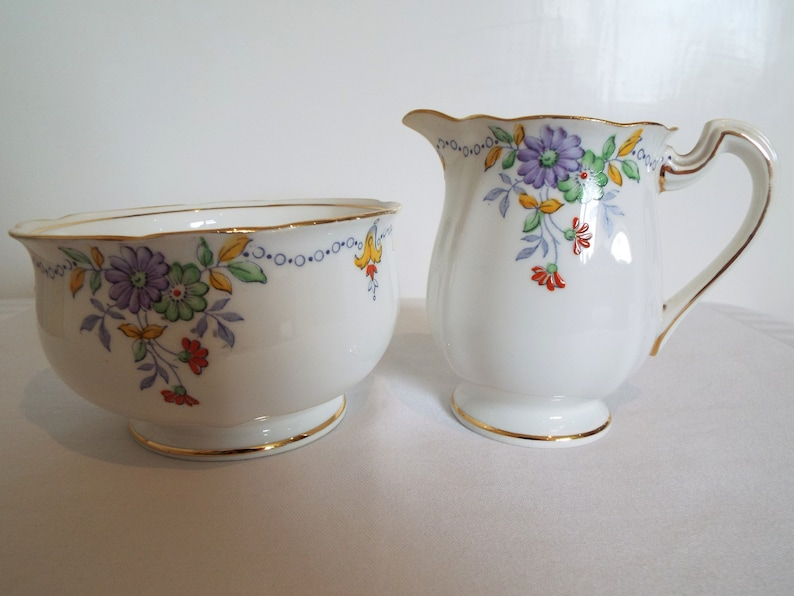 Vintage Milk Jug and Sugar Bowl. 1930s Standard China Sugar image 0