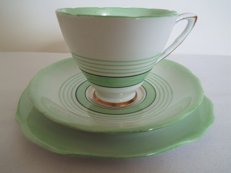 Vintage Green Teacup and Saucer Art Deco Style. Royal image 0